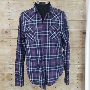 G By Guess Embroidered Plaid Long Sleeve Shirt